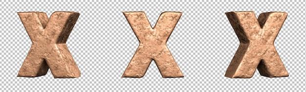 Letra x do conjunto de coleta de alfabeto de letras de cobre. isolado. renderização 3d