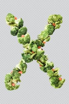 Letra x. estilo de vida saudável e nutrição. alfabeto ingles. texto dos produtos. brócolis, aspargos, cenouras. fonte do designer. fonte vegetal. psd