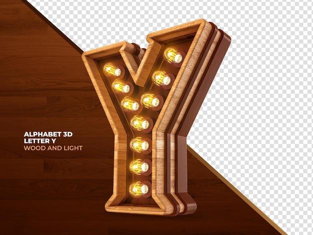 Letra y 3d render madeira com luzes realistas