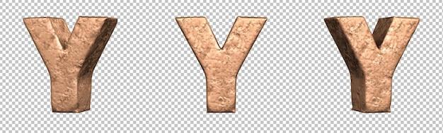 Letra y do conjunto de coleta de alfabeto de letras de cobre. isolado. renderização 3d