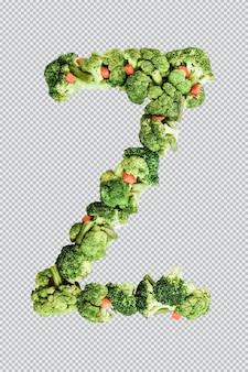 Letra z. estilo de vida saudável e nutrição. alfabeto ingles. texto dos produtos. brócolis, aspargos, cenouras. fonte do designer. fonte vegetal. psd