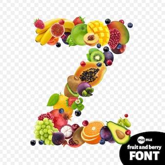 Letra z, símbolo de fonte de frutas