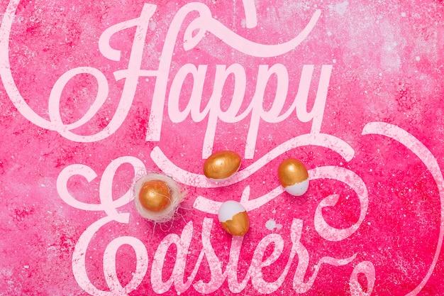 Letras de páscoa maquete com ovos