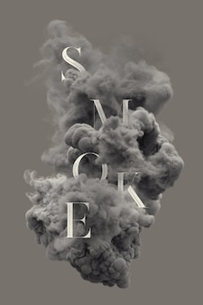 Letras de texto na fumaça