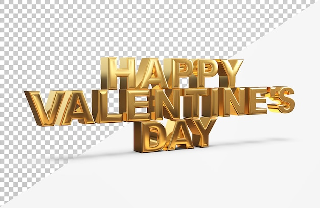 Letras douradas do feliz dia dos namorados com renderização em 3d isolada