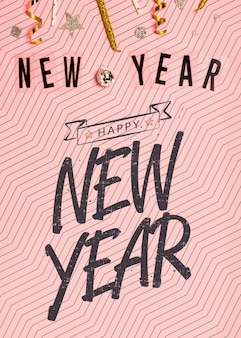 Letras minimalistas de ano novo em fundo rosa