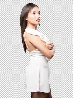 Levantamento asiático da mulher