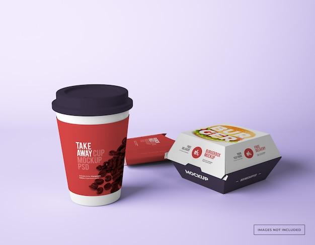 Leve o copo de papel com maquetes de caixa de batatas fritas e maços de hambúrguer