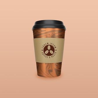 Leve o design da maquete do copo de papel para café e chá