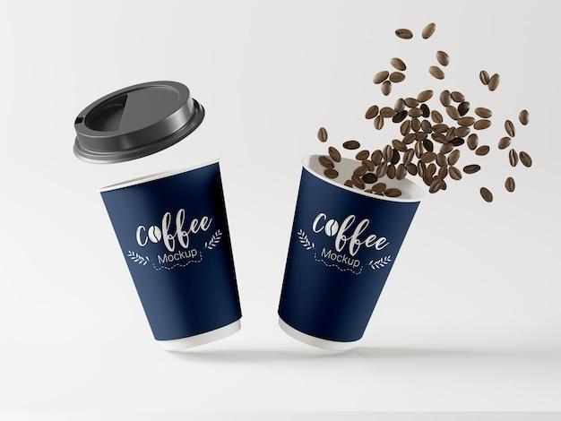 Leve xícaras de café mockup