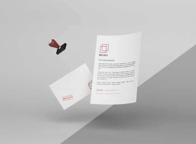 Levitando maquete de papel e carimbo
