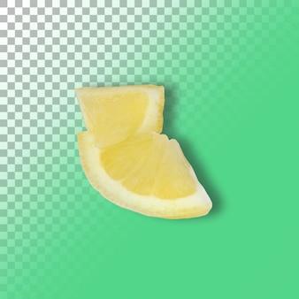 Limão de duas fatias isolado em fundo transparente.