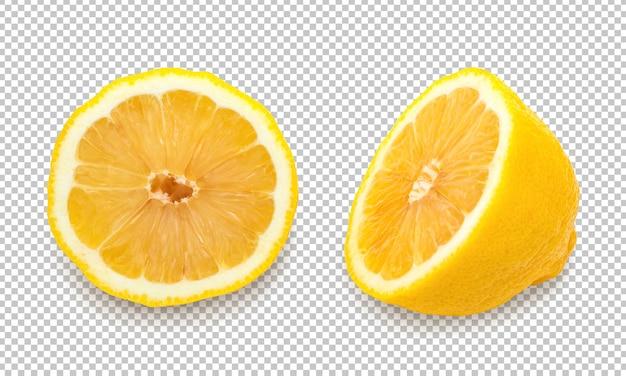 Limões amarelos em fundo isolado de transparência