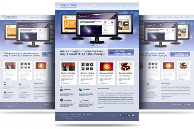 Limpar corporativa e de negócios website template psd