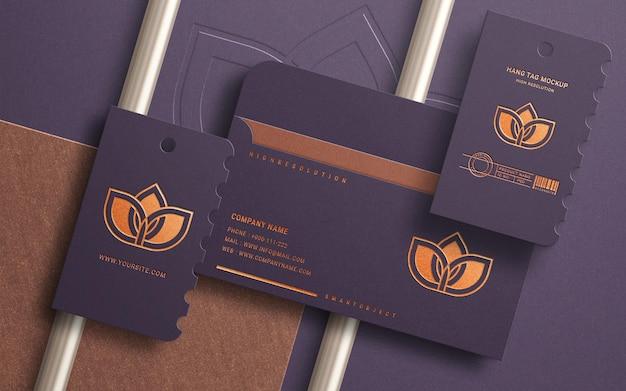Limpar maquete corporativa e de papelaria com efeito de folha de cobre
