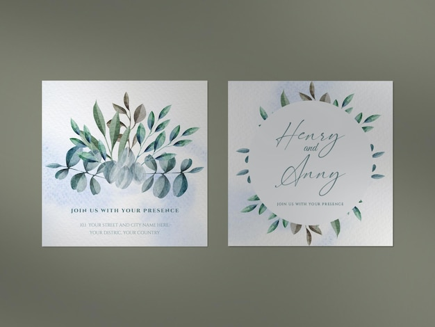 Limpe a maquete com conjunto de cartão romântico aquarela e sobreposição de sombra