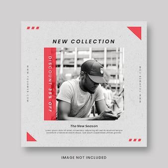 Limpe mínimo nova coleção moda estilo promoção mídia social instagram pós banner modelo