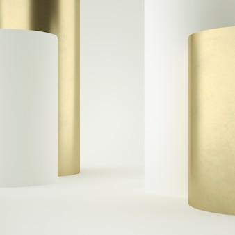 Limpe o suporte do produto de ouro branco, moldura de ouro, placa memorial, conceito mínimo abstrato, espaço em branco, design limpo, luxo. 3d rendem