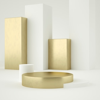 Limpe o suporte do produto de ouro branco, moldura de ouro, placa memorial, conceito mínimo abstrato, espaço em branco, design limpo, luxo. renderização em 3d