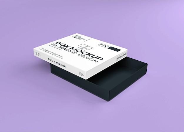 Linda caixa realista com maquete de tampa aberta