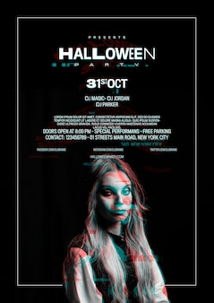 Linda garota no cartaz de halloween com efeito de falha