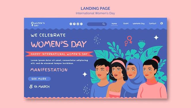Linda página de destino do dia da mulher