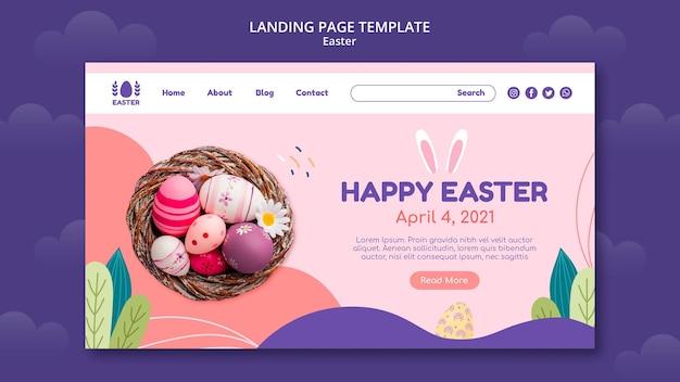Linda página de destino do evento do dia de páscoa