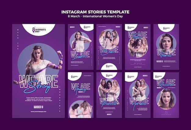 Lindas histórias do instagram do dia das mulheres Psd Premium