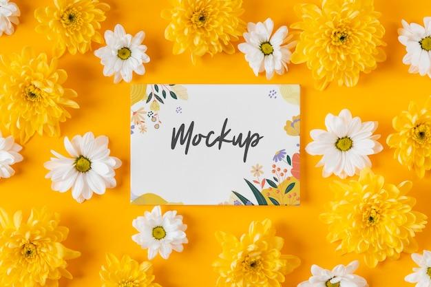 Lindo arranjo de flores de primavera com maquete