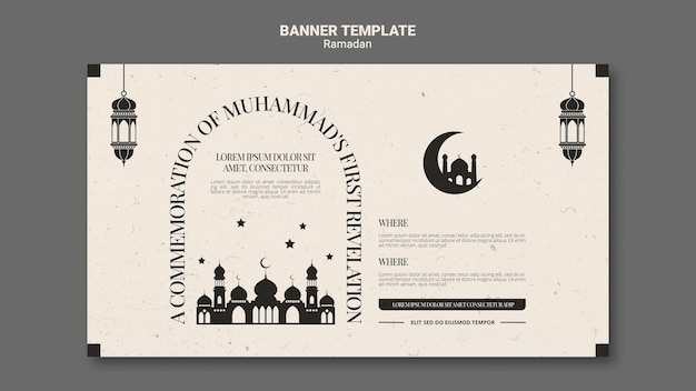 Lindo banner horizontal do ramadã