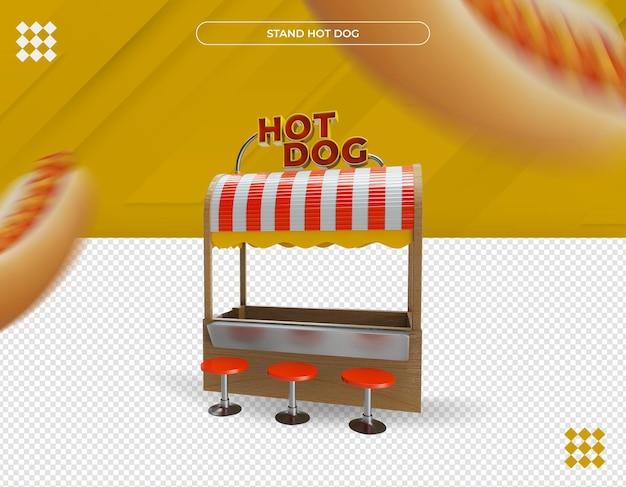 Lindo carrinho de cachorro-quente renderização em 3d