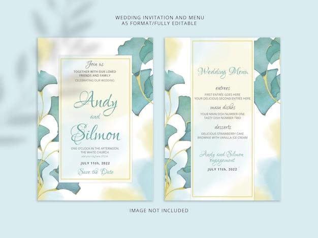 Lindo desenho a mão floral de convite de casamento psd premium