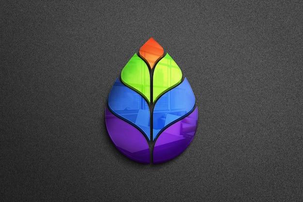 Lindo logotipo colorido com folhas
