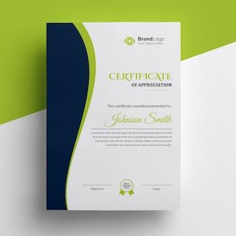 Lindo modelo de certificado limpo