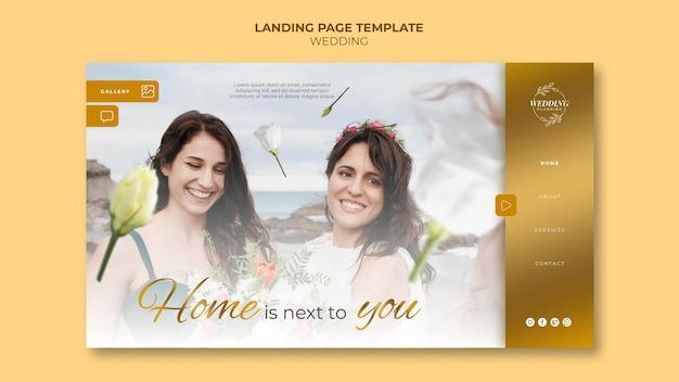 Lindo modelo de página de destino de casamento
