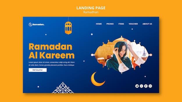 Lindo modelo de página de destino para o ramadã