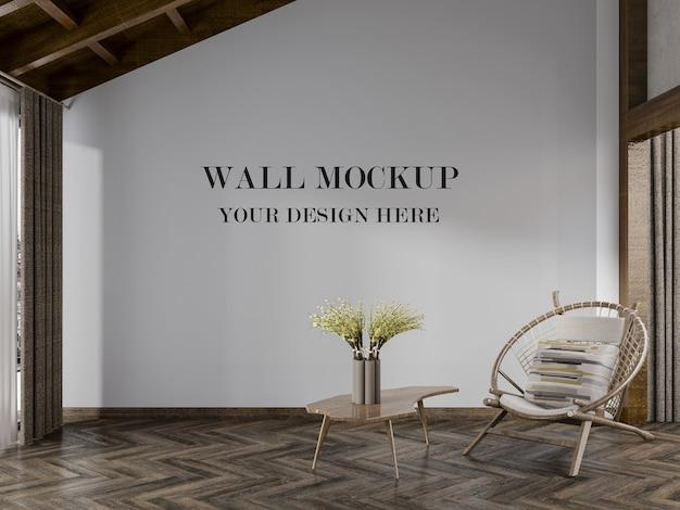 Lindo quarto com maquete de parede vazia
