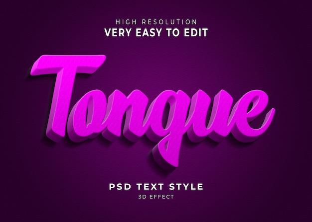 Língua 3d efeito de texto moderno