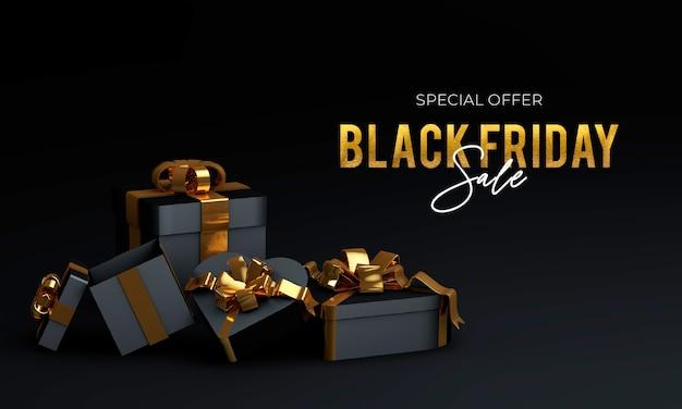 Liquidação de sexta-feira negra com caixa de presente