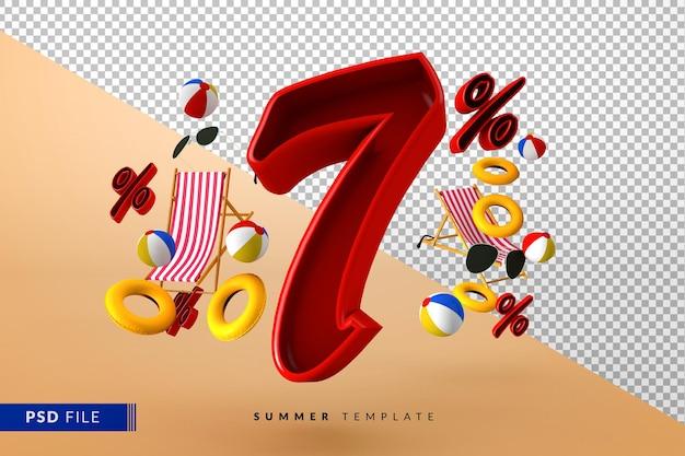Liquidação de verão tinto com 7% de desconto promocional com acessórios de praia isolados