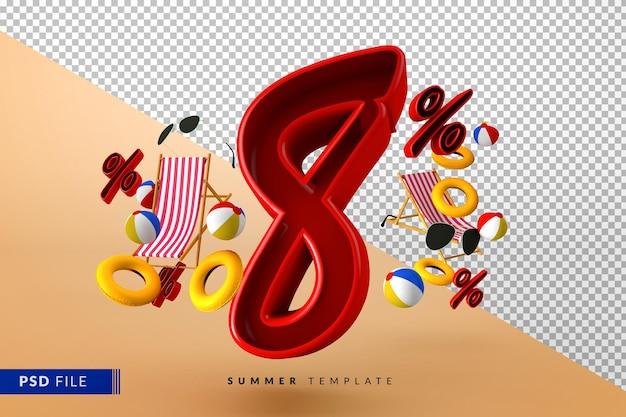 Liquidação de verão tinto com 8% de desconto promocional com acessórios de praia isolados