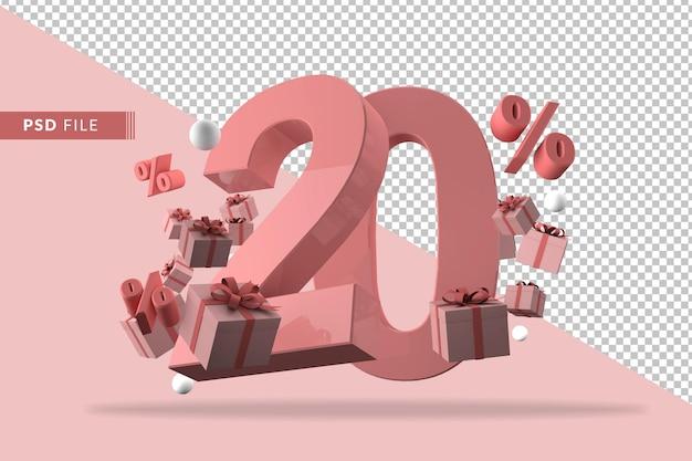 Liquidação rosa 20 de desconto em promoção e comemoração com caixas de presente e porcentagem de renderização em 3d