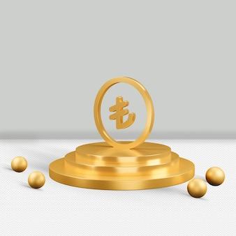 Lira ouro ícone isolado renderização em 3d