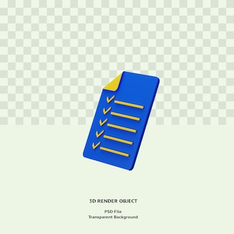 Lista de verificação 3d ícone ilustração objeto isolado renderizado premium psd