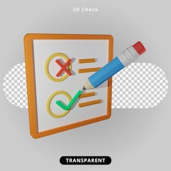 Lista de verificação de renderização 3d com ilustração a lápis