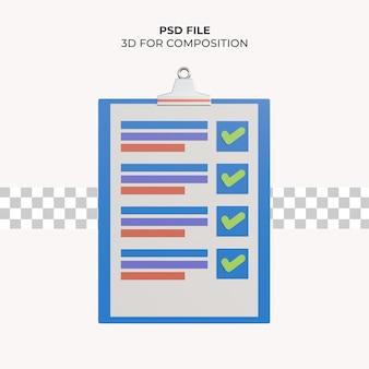 Lista de verificação de verificação de ilustração 3d psd premium