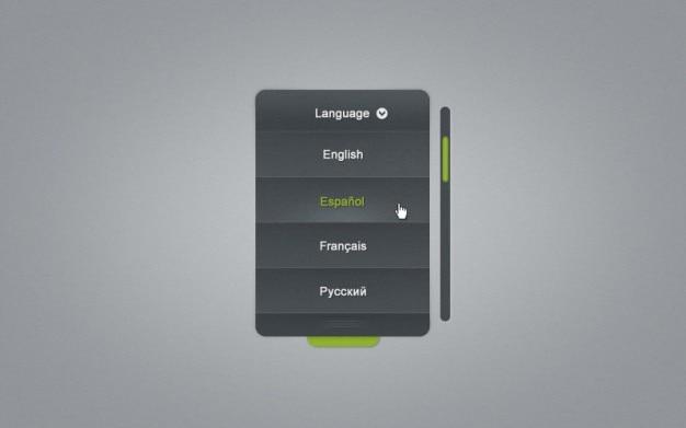 Lista do menu com o selector de línguas