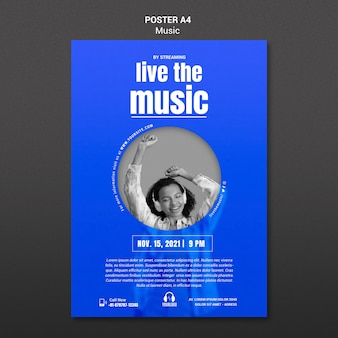 Live the music poster template Psd grátis