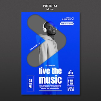 Live the music poster template Psd Premium