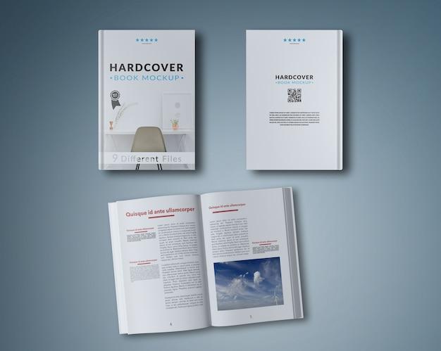 Livro aberto e duas capas maquete